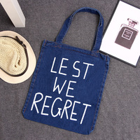 Kadın kullanımlık alışveriş çantası denim baskı mektup kadın tote çanta bayanlar kızlar için kitap kılıfı bolsa feminina bolso mujer