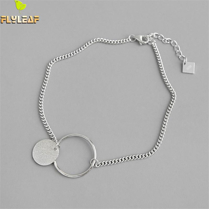 Flyleaf Geometric Round Circle Gold Real 925 Sterling Silver Anklets For Women Fashion Girl Ankle Leg Fine Jewelry Enkelbandje