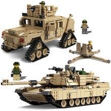 Kazi Technic Enlighten Toys Super Gun Weapon HUMMER Tank Model Building Blocks Toy Military Minifigures Bricks Compatible Legoed