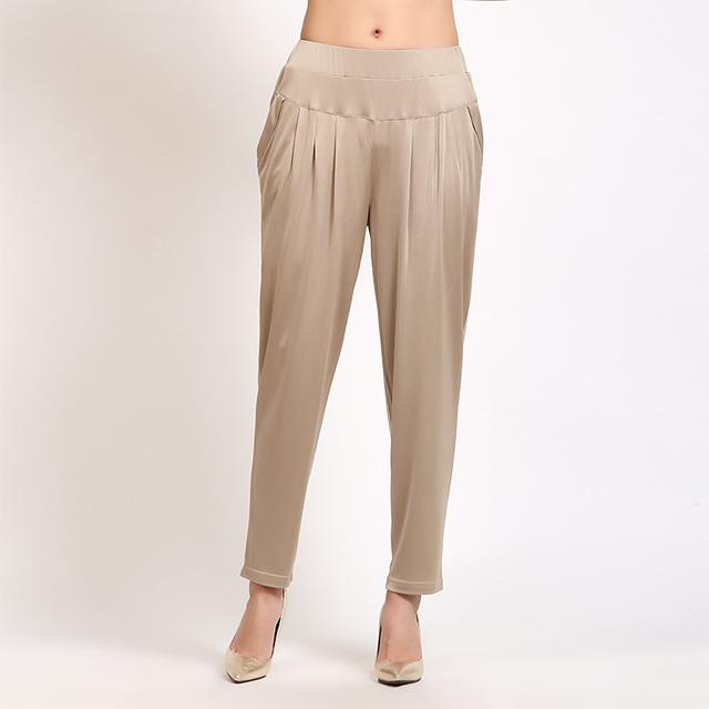 Verão 100% De Seda Peso Pesado de Seda Calças Nove Calças Haren Calças Tamanho Grande das Mulheres
