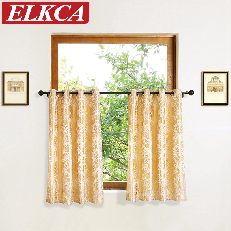 European Golden Luxury Short Curtains For Kitchen Window Curtains Valance  For Kitchen Elegant Short Curtains Drapes  In Curtains From Home U0026 Garden  On ...