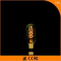 50 шт. Винтаж Дизайн Эдисон накаливания E27 B22 Светодиодные лампы, t45 40 Вт энергосберегающих украшение лампы заменить лампы накаливания AC220V