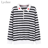 Lychee Spring Autumn Women T Shirt Heart Embroidery Stripe Turn Down Collar Long Sleeve Casual Loose