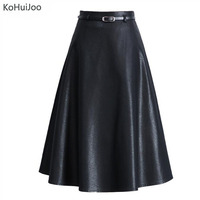 Plus Size Winter PU Leather Skirt Women Casual Faux Leather Skirts Ladies Vintage A Line Female High Waist Mid Skirts with belt