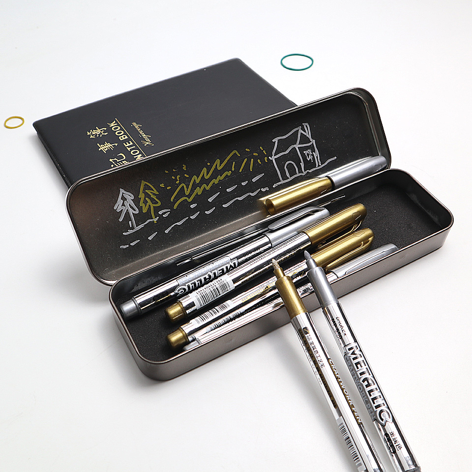 High Quality Metallic Color Craftwork Paint Pen Gold and Silver Paint Marker Tire Metal Surface CD Glass Waterproof Marking Pen