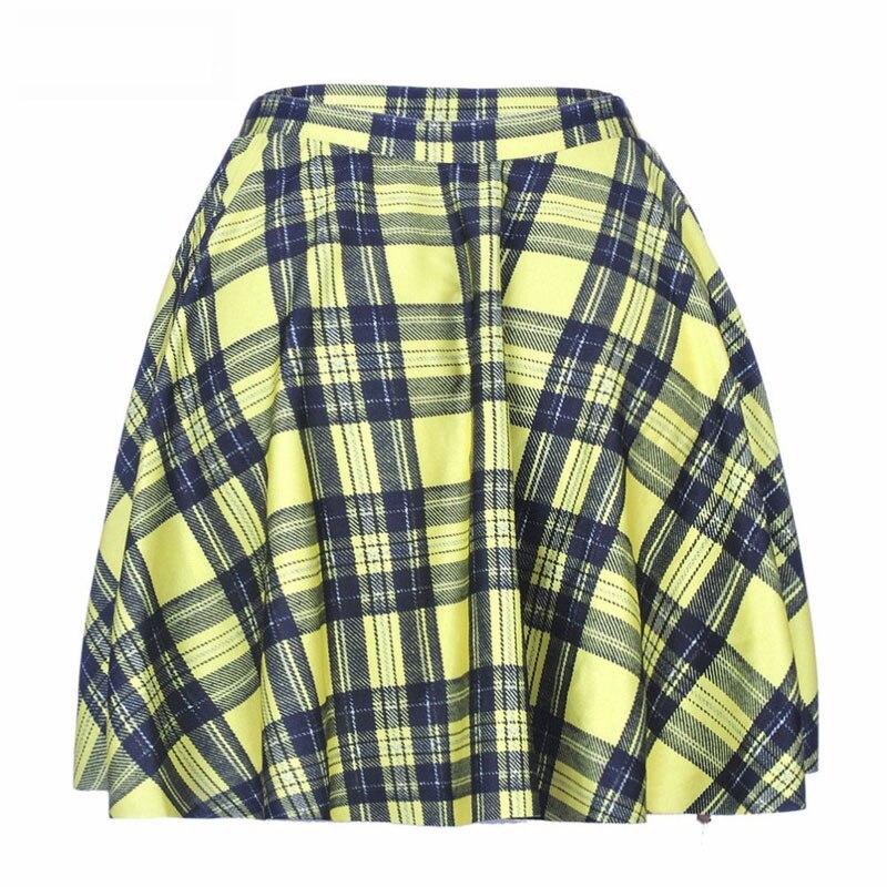 1017 Summer Women Plus Size Pleated Mini Skater Skirt Sexy Girl Cheerleader TuTu Skirt Scotland plaid tartan Yellow Prints