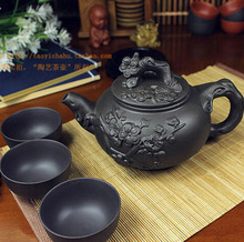 Tetera de porcelana china Yixing Zisha, tetera de cerámica de Zisha hecha a mano, 400ml + 3 tazas, 60ml