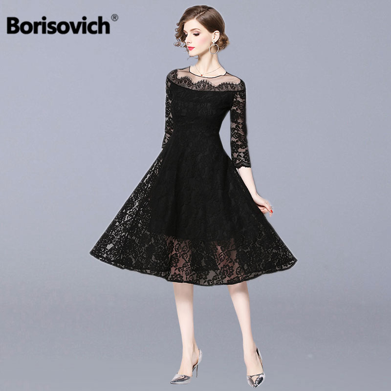 Borisovich Ladies Evening Party Dress New Brand 2019 Spring Fashion Big Swing A line Elegant Women