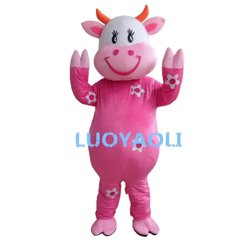 Nouveauté personnage de dessin animé adulte mignon belle vache mascotte Costume fantaisie robe Halloween Costume de fête