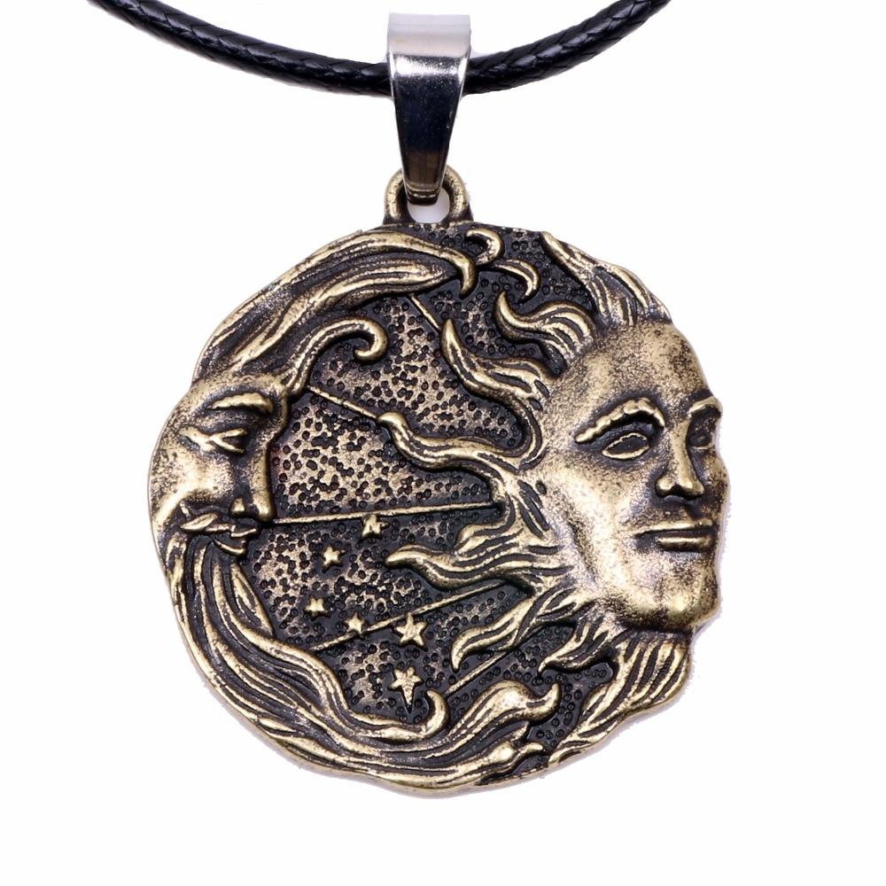 Sun Moon Stars Amulet Solar Luna Pendant Necklace Pagan