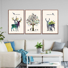 HAOCHU Europe And American Decorative Painting Elk Money Tree Flowers Love Bird Home Living Room Bedroom Study Mural Wall Poster
