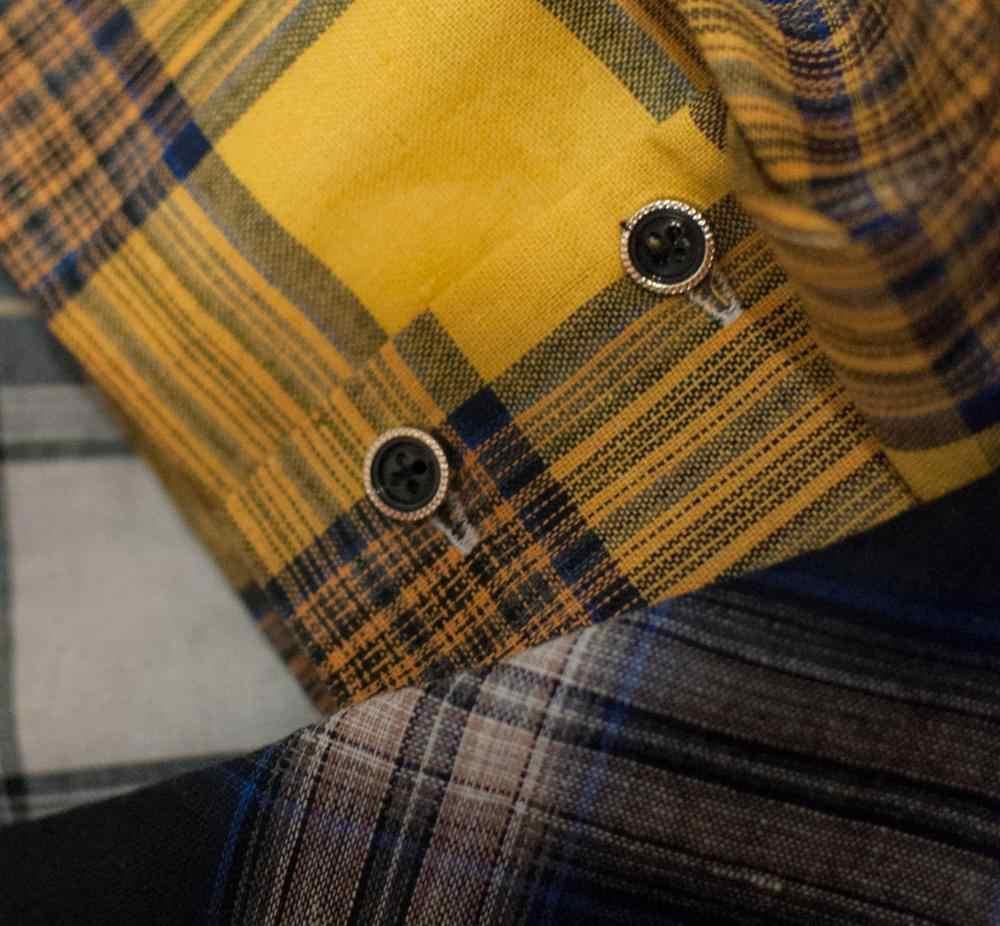 QUEENUS 春チェック柄シャツ女性のカラーブロッキング黄色ボタンブラウスゆるいカジュアルなストリートポケットブランドシャツ女性