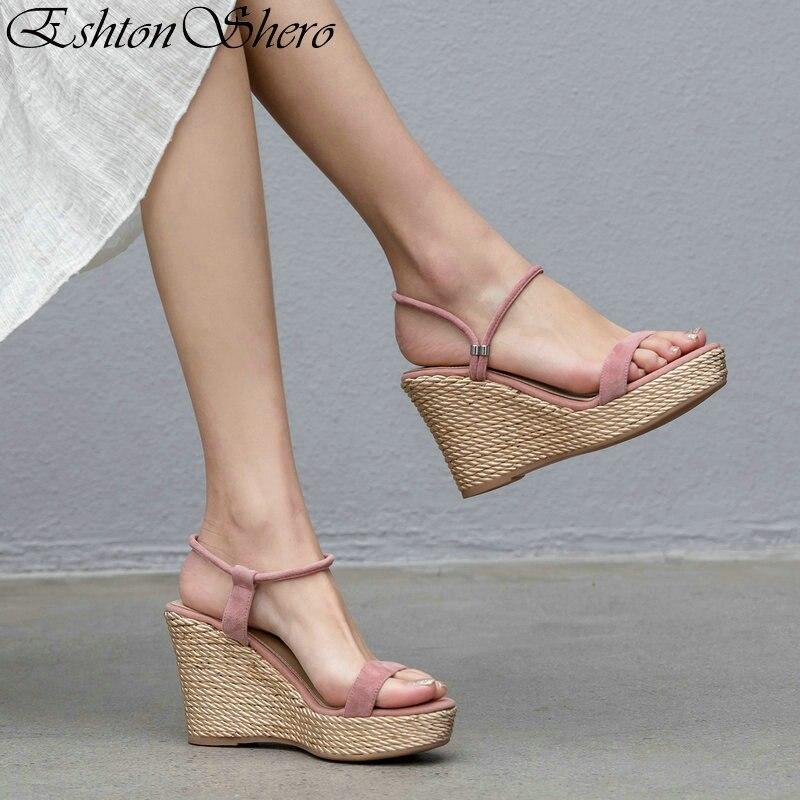 Negro Eshtonshero Cuñas 2019 8 Las Mujeres De apricot Tacones Tamaño Mujer Altos Cuña Zapatos 3 Sandalias rosado Para IZqwZrPg