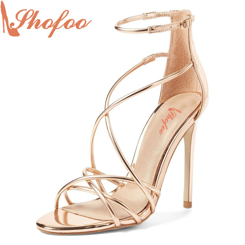 где купить 2017 Shofoo Summer Women Fashion High Heels Ankle Strap Gold&Sliver Wedding Sandals Woman Shoes,Zapatos Large Size4-16 по лучшей цене