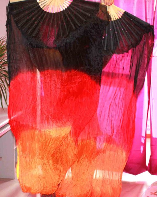 OBVIOUS TAINTED PAIRS 1.5M BELLY DANCE 100% SILK FANS FREE SHIPPING 632