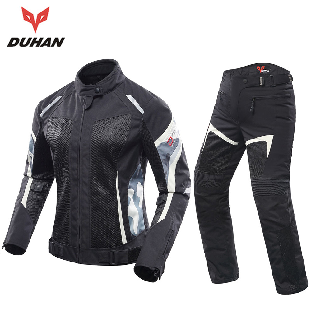 DUHAN Women Motorcycle Jacket And Motorcycle Pants Set Breathable Mesh Motorbike Jacket Jaqueta Motoqueiro Jackets Motorcycle top good motorcycles mesh fabric jacket summer wear breathable hard protective overalls motorcycle clothing wy f607 green