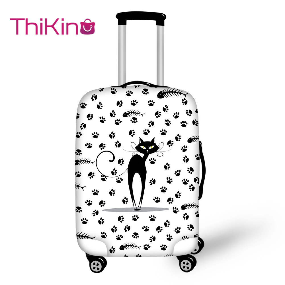 Thikin  Printing Cat Travel Luggage Cover Girls Boys School Trunk Suitcase Protective Cover Travel Bag Protector