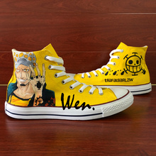 Wen Anime Hand Pained Yellow Canvas Shoes Design Custom One Picec Trafalgar Law High Top Men Women's Canvas Sneakers