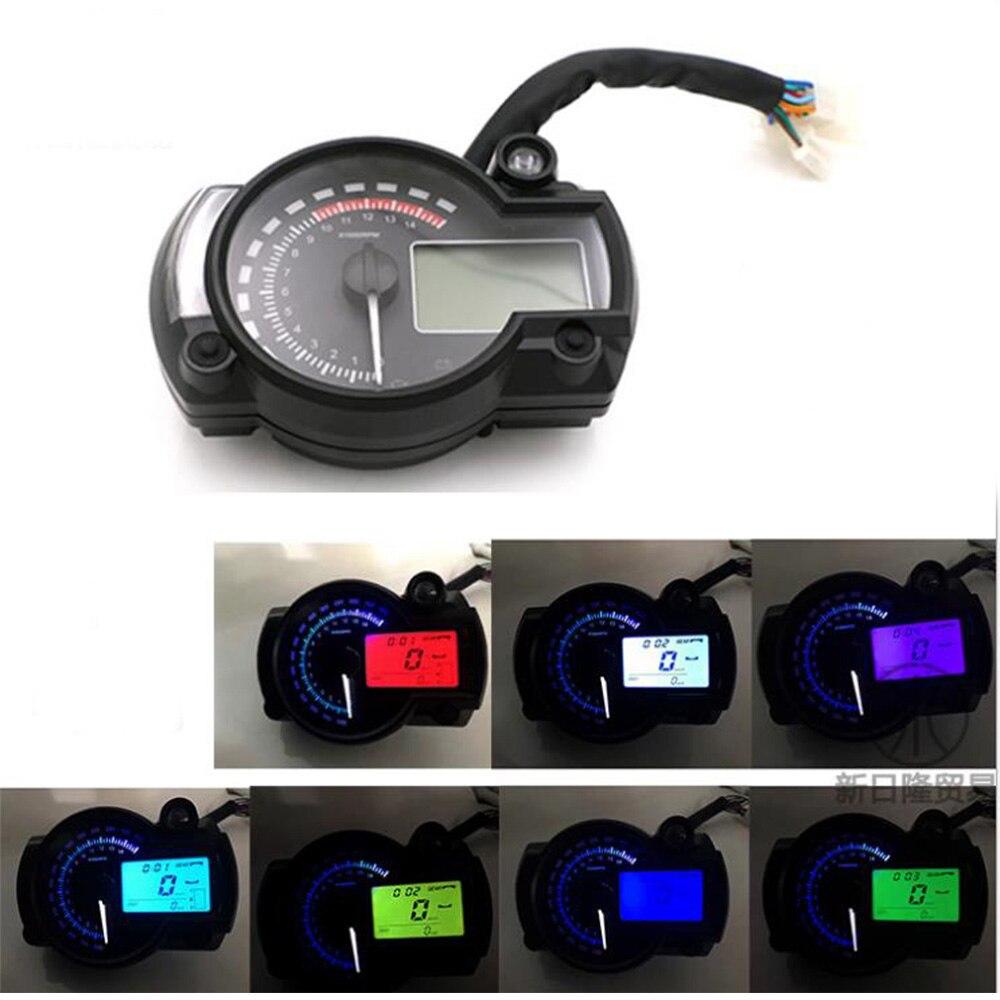 Motorcycle DC 12V 7 Color LCD Digital Display Tachometer Assembly Speedometer Odometer Dashboard Sensor RPM Fuel Level Gauge