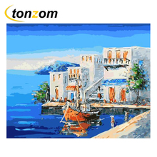 RIHE 2018 Holiday Resort Drawing By Numbers DIY Sailing Boat Painting Handwork On Canvas Oil Art Coloring Home Decor