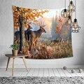 Гобелен с принтом оленя на осень  тонкое полиэфирное одеяло  ковер для йоги  домашний декор