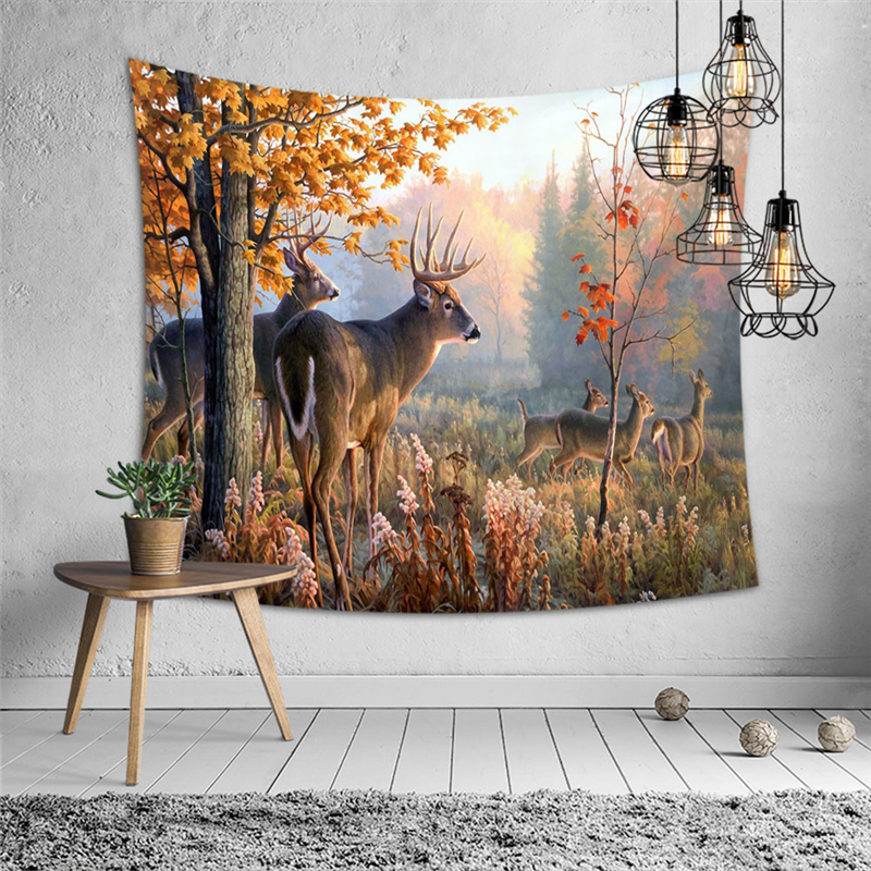 Autumn Forest Hangings Deer Prints Tapestry Hippie Wall Hanging Thin Polyester Blanket Wall Carpet Yoga Mat Home Decor Tapestry|Decorative Tapestries| |  - title=