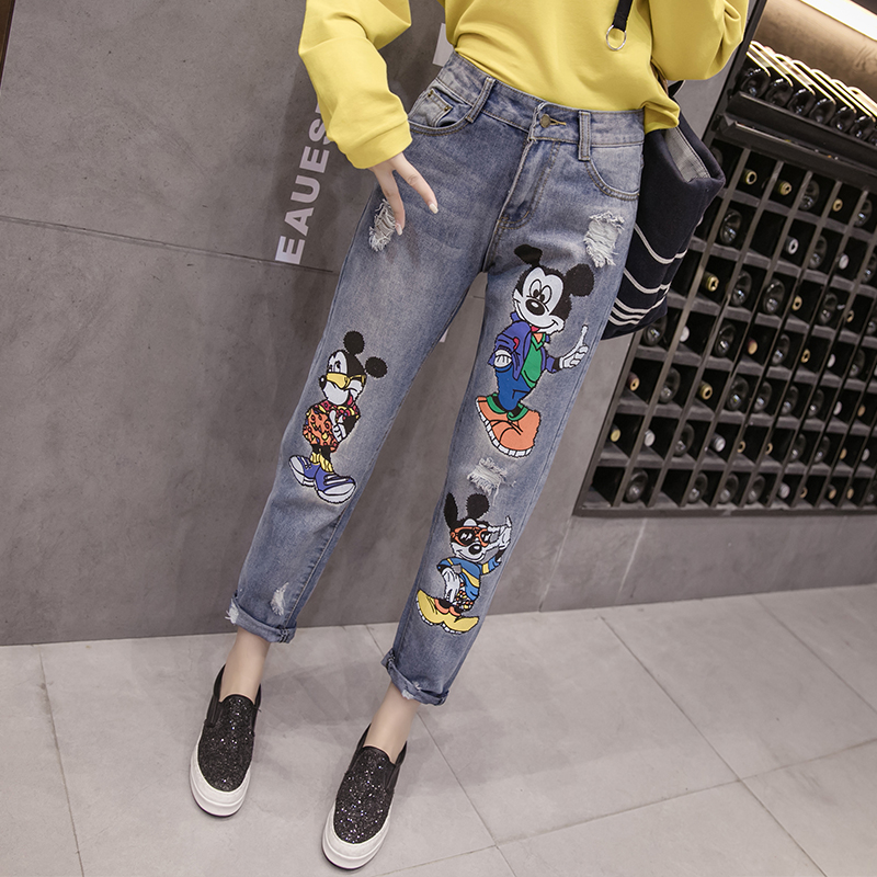 5Xl Plus Size Ripped Boyfriend Jeans For Women Mickey Mouse Jeans Woman Loose Distressed Boyfriend Jeans Harem Denim Pants Femme