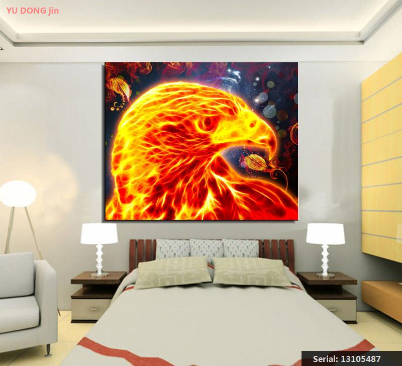 Golden Eagle Animal Abstract Oil Painting Drawing Art Spray Unframed Canvas Action Figure Gemstone Square Design Scarf13105487 Home Decor