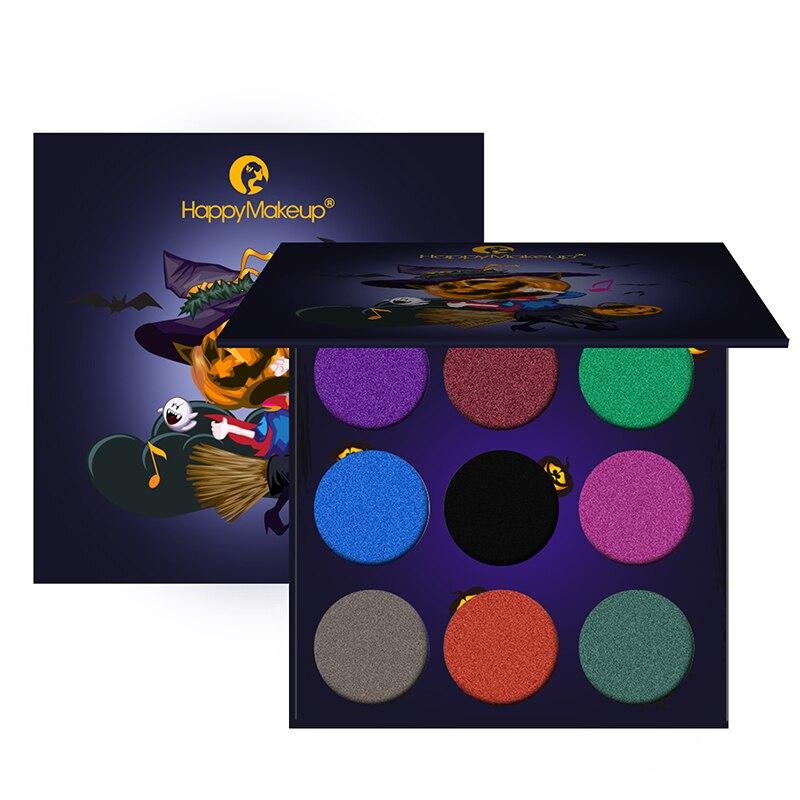 HappyMakeup 9 Colors Eyeshadow Shimmer Diamond Powder Glitter Luminous Eye shadow Palette Long-lasting Waterproof Cosmetics kit