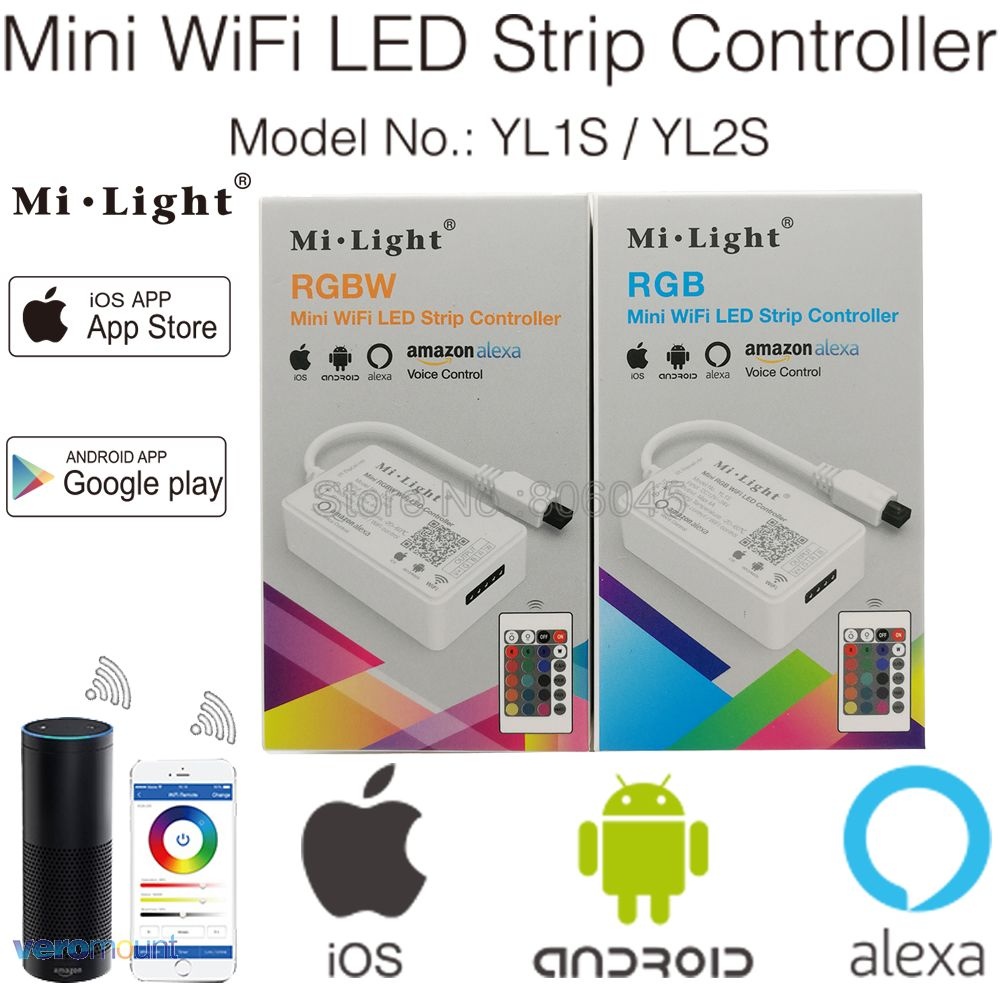 Milight YL1S YL2S Min WiFi LED Controller With 24Key IR Remote, Amazon Alexa Voice Smartphone APP Control For RGB RGBW LED Tape
