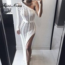 RICININA 2019 Woman Dress Ladies One Shoulder Hollow Out Bodycon Ankle-Length Knitted Split Dresses Women Sexy Party Beach Dress