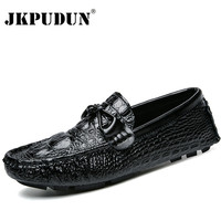 JKPUDUN Mens Shoes Casual Luxury Brand 2017 Italian Cocodrilo Driving Shoes Men Genuine Leather Men Loafers Slip On Moccasins