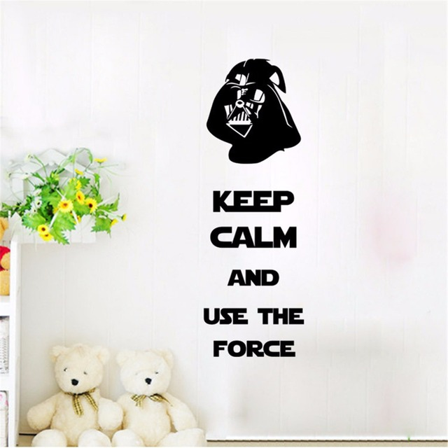Keep calm and use the force star wars wall quote decal sticker darth vader wall art