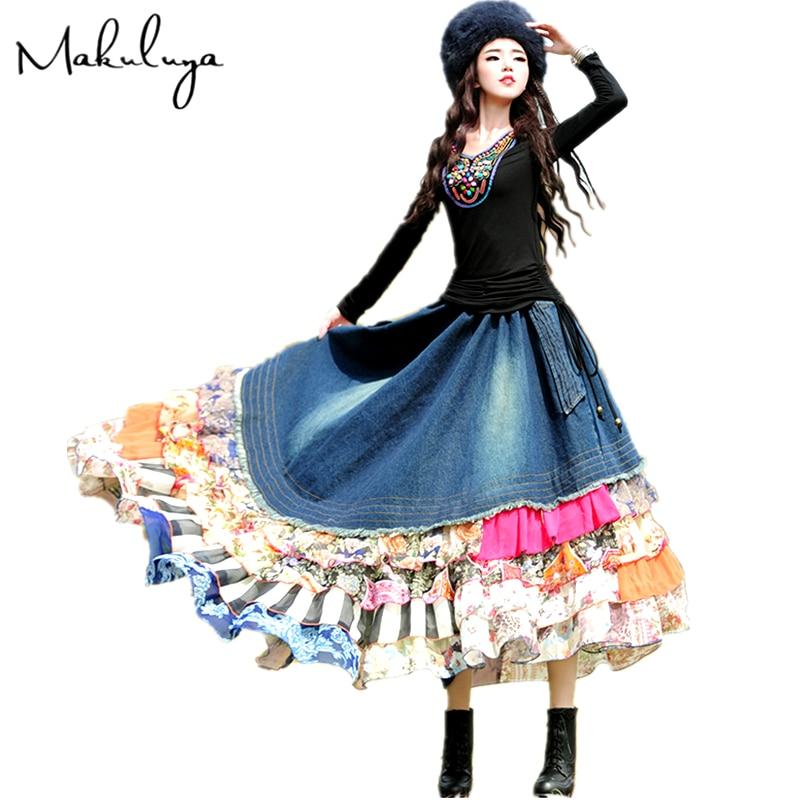 Makuluya Women Bohemian Asymmetrical Denim Patchwork Chiffon Ruffles Maxi Long Skirts Spring Autumn Winter Summer Female