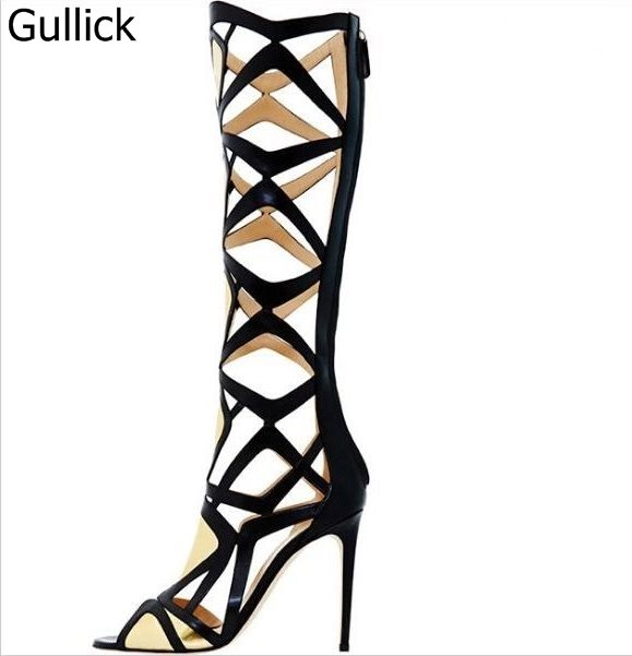 Newest Sexy Hollow Out Design Black Beige Leather Knee-High Sandal Boots Summer Fashion Back Zipper Peep Toe High Heel Pump
