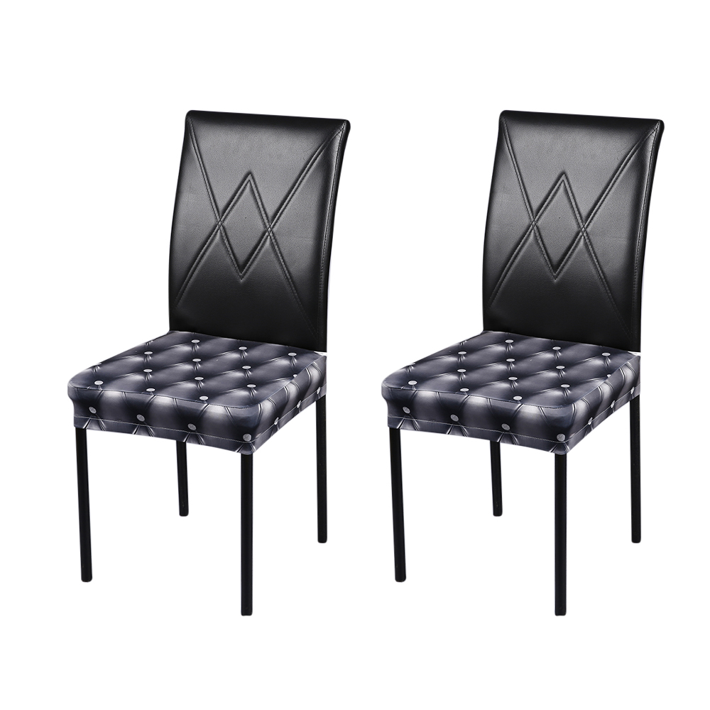 2pcs 3D Imitation Leather Pattern Chair Covers Stretchable