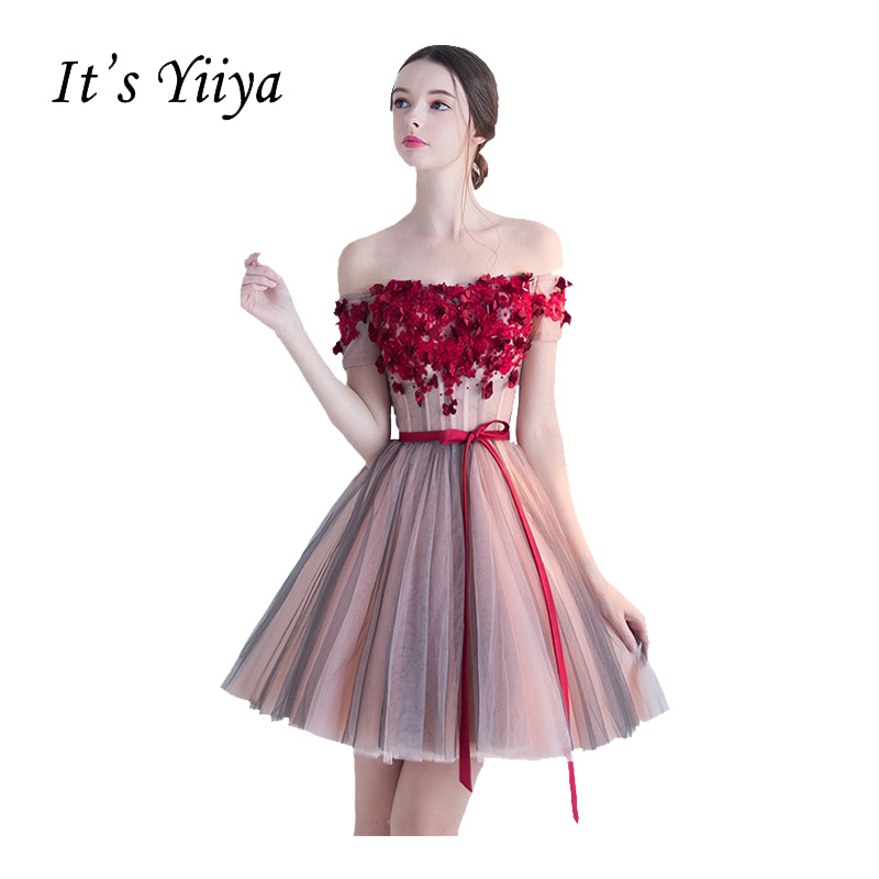 Its Yiiya Red Popular Sleeveless Short Beautiful Appliques Cocktai Gowns Flower Pattern Sashes Bow Cocktail Dress L013 Weddings & Events