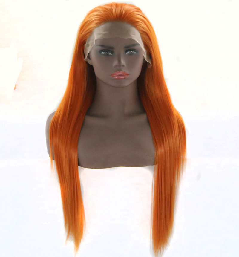 Bombshell Long Staight Synthetic Lace Front Wig Light Orange Heat Resistant Fiber Hair Natural Hairline Free