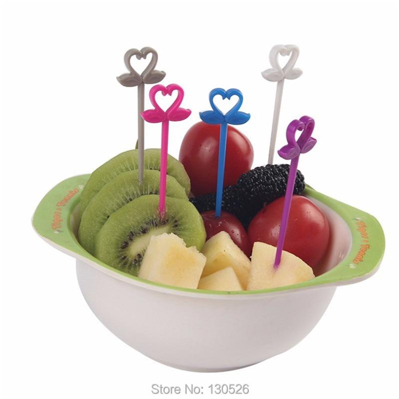 10pcs Cute Plastic Food Fruit Fork Picks Set Swan Shape ...