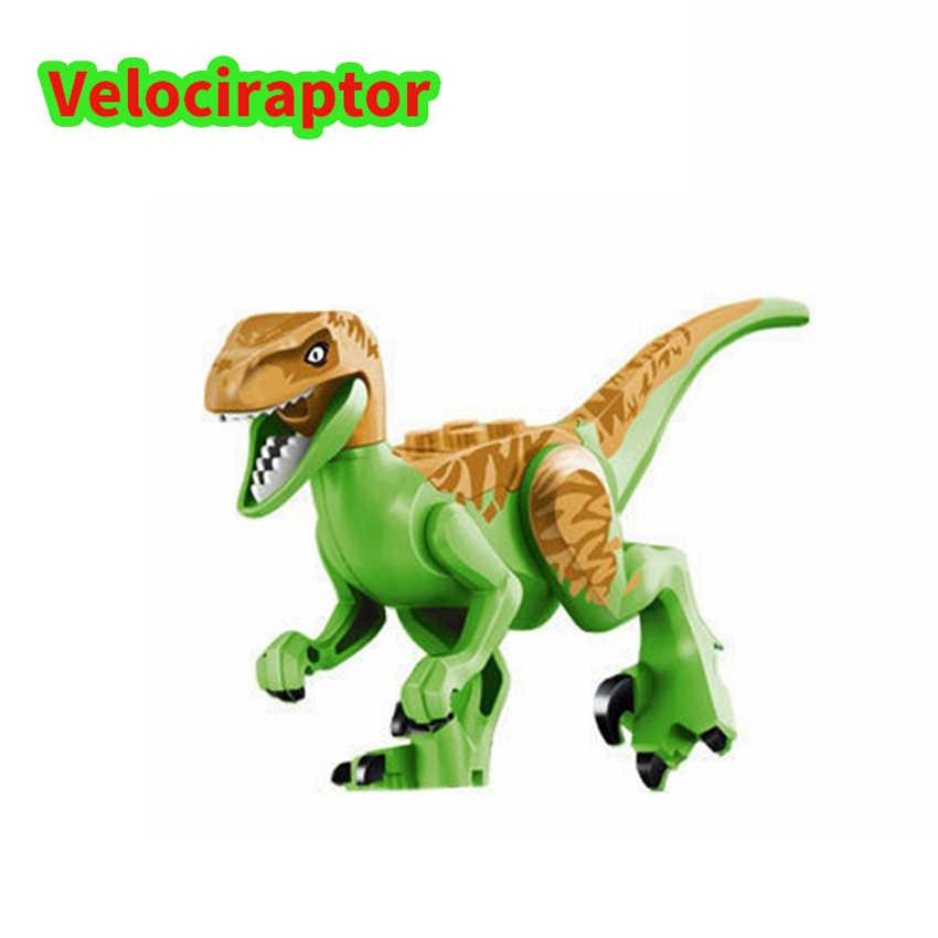 Legoing jurássico parque mundial dinossauro animais brinquedos figuras conjuntos indominus rex velociraptor blocos de construção brinquedos para crianças presente