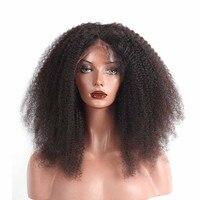 Афро кудрявый парик 250% плотность Синтетические волосы на кружеве человеческих волос для Для женщин предварительно сорвал с для волос брази