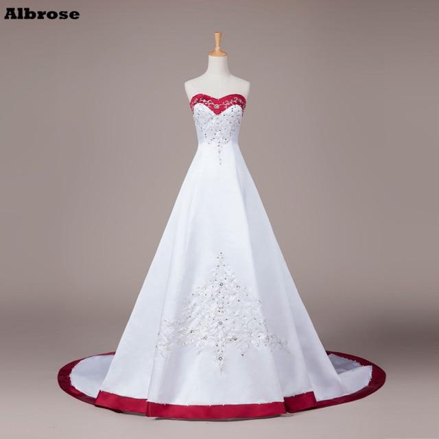 506df693374f2e4 Винтаж вышивкой свадебное платье белый и цвет красного вина свадебное платье  es дешевые свадебные платья блестками
