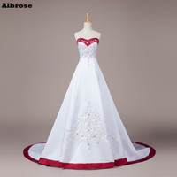 Vintage Embroidery Wedding Dress White And Wine Red Wedding Dresses Cheap Bridal Gowns Vestido De Noiva