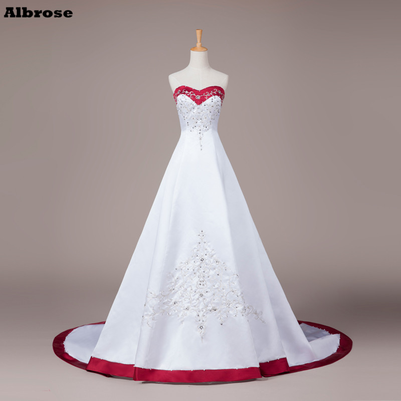 Vintage embroidery wedding dress white and wine red for Vintage wedding dresses for cheap