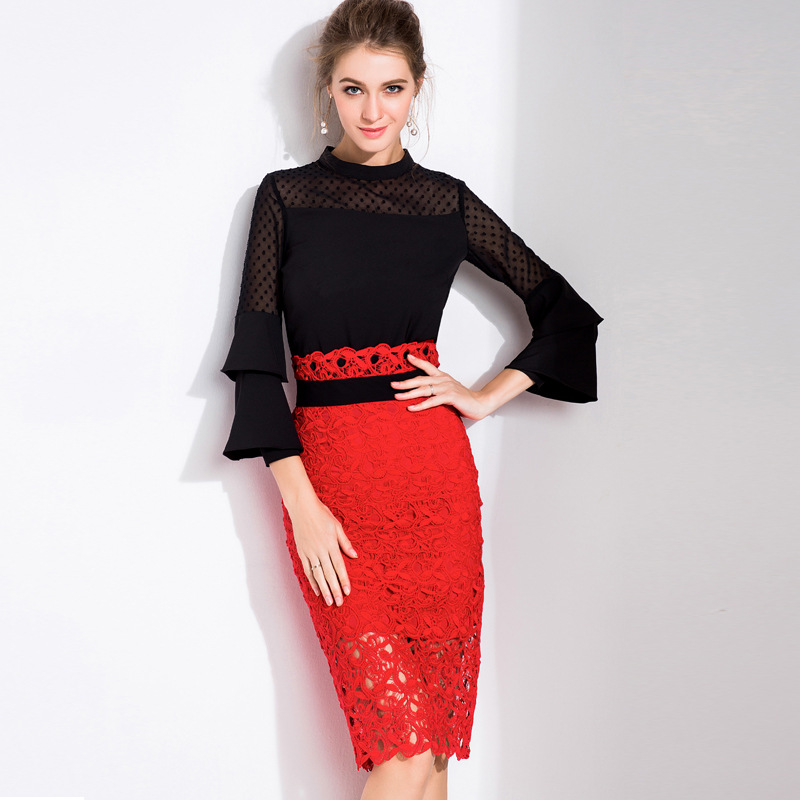 2 Piece Set Women Suit Spring Office Mesh Spliced Blouse Tops and Red Lace Slit Pencil Slim Skirts Bodycon Party Skirt suit B826 slit back pencil skirt with strap page 2