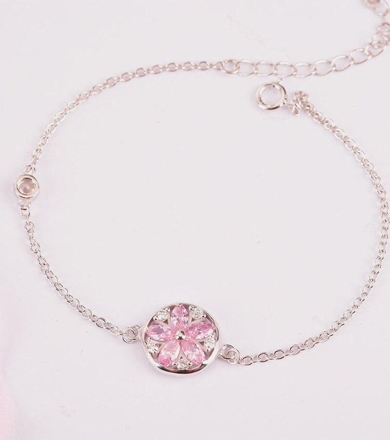 Silver Cherry Blossom Bracelet With Zircon Sakura Bangle Women 925 Sterling Jewelry 3