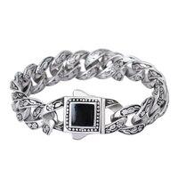 Retro Chain Link Bracelet Men 15mm Wide Solid Stainless Steel Semi precious Stone Bracelets Cool Punk Male Jewelry Wristband