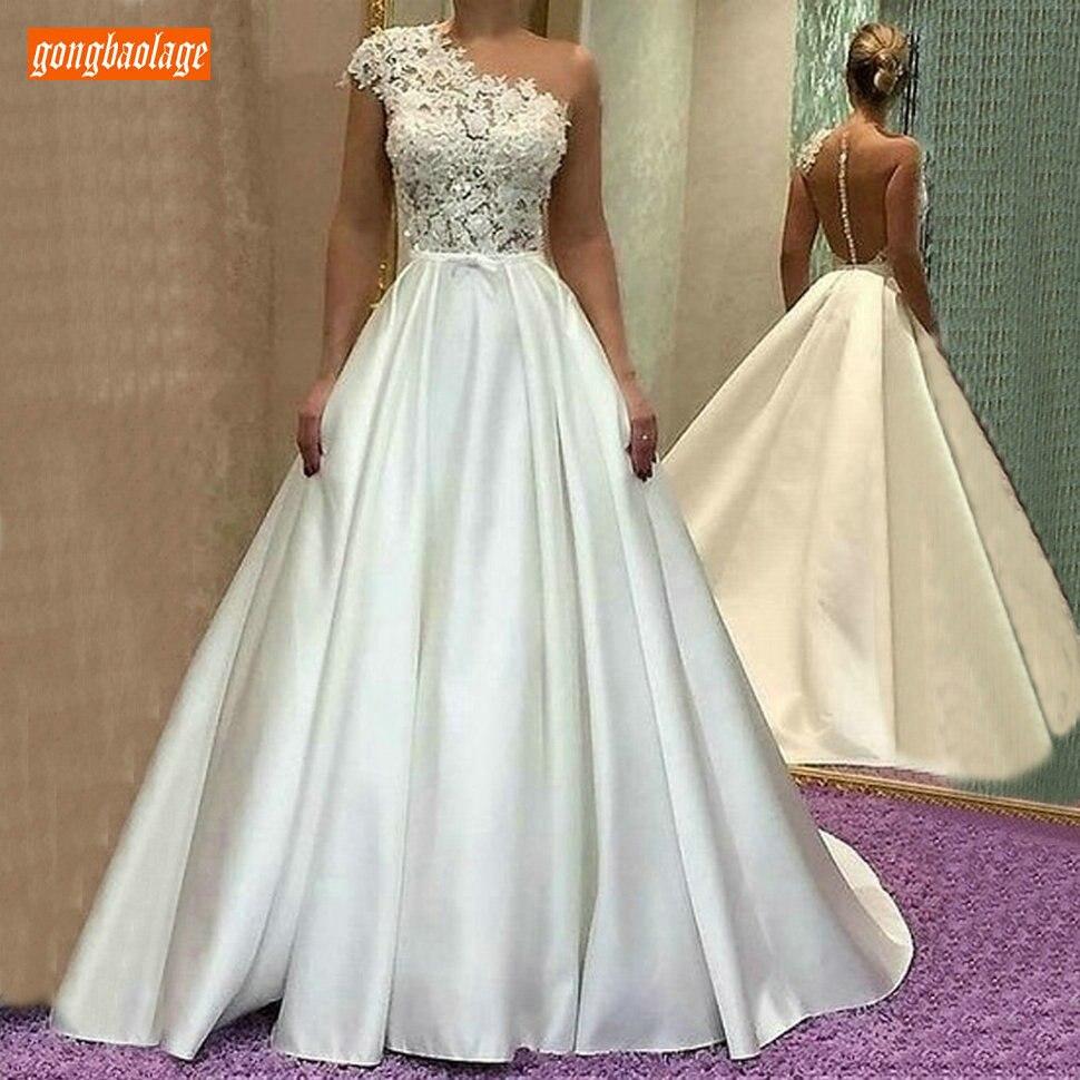Aristocratic Satin White Wedding Dress One Shoulder 2019