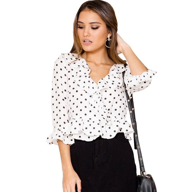 Для женщин Новое поступление горошек печатает рубашка raffel низ рукава три четверти блуза