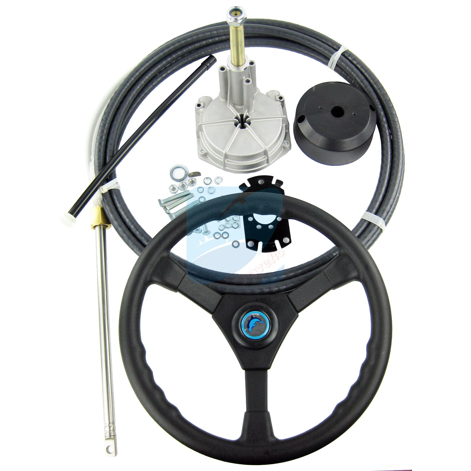 купить 15FT Single Turbine Rotary Outboard Steering System W/ Boat Steering Cable Wheel по цене 10872.8 рублей